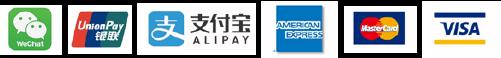 Wechat UniconPay ALIPAY AMERICANEXPRESS MasterCard VISA